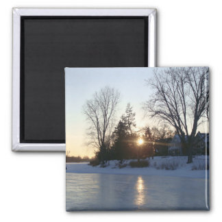 Frozen Lake Sunset Square Magnet