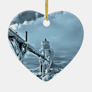 Frozen Lighthouse In Winter Christmas Ornament