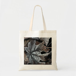 Frozen maple leaves tote bag