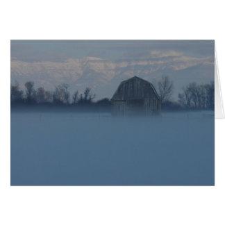 Frozen Mist Shrouding Barn Card
