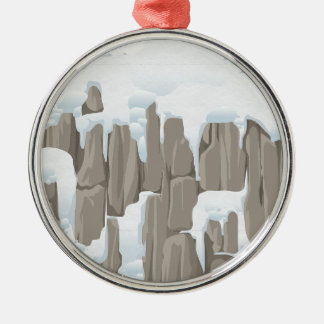 Frozen Mountains Silver-Colored Round Decoration