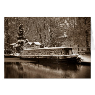 Frozen Narrowboat on Canal Cards