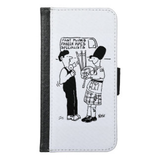 Frozen Pipes - Plumber assists Man with Bagpipes Samsung Galaxy S6 Wallet Case