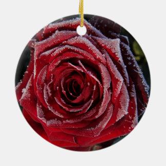 Frozen rose ornament
