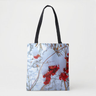 Frozen rowan berry in the beginning of spring tote bag