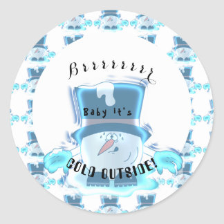 Frozen Snowball Guy - Baby it's Cold Outside Classic Round Sticker