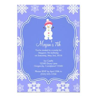 Frozen Snowflake Winter Snowman Birthday 13 Cm X 18 Cm Invitation Card