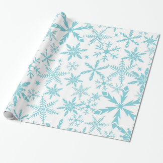 Frozen Snowflakes Holiday Gift Wrap / Blue White
