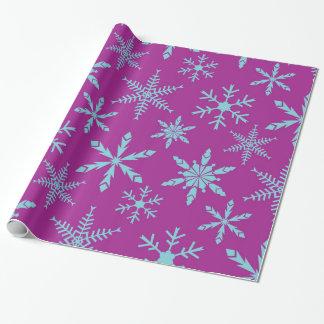Frozen Snowflakes Holiday Gift Wrap / Purple Aqua