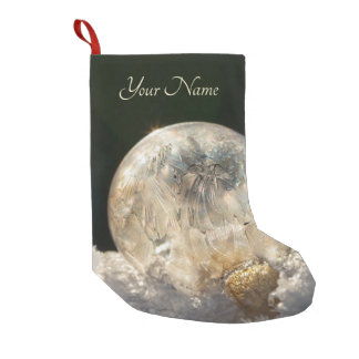 Frozen Soap Bubbles Ice Crystal Cool Winter - Name Small Christmas Stocking