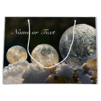 Frozen Soap Bubbles Ice Crystal Winter Nature Name Large Gift Bag