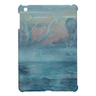 Frozen trees in misty  lake iPad mini case