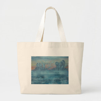 Frozen trees in misty  lake large tote bag
