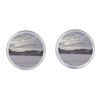 Frozen water nature silver finish cuff links