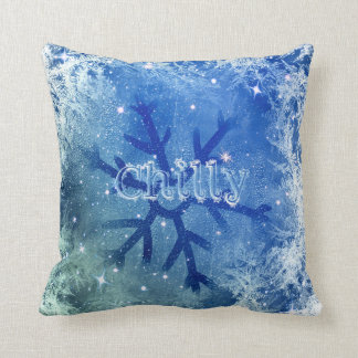 Frozen Watercolor Snowflake - chilly Cushion