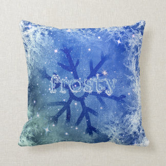 Frozen Watercolor Snowflake - frosty Cushion