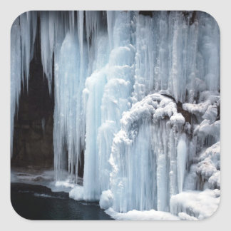 Frozen Waterfall sticker. Square Sticker