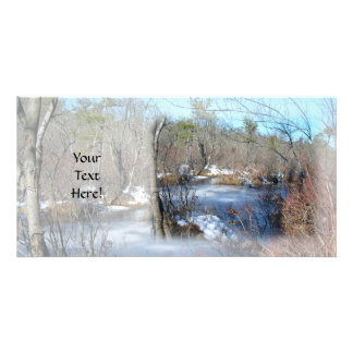 Frozen Wetlands Pond Customized Photo Card