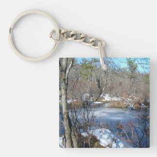 Frozen Wetlands Pond Double-Sided Square Acrylic Key Ring