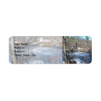 Frozen Wetlands Pond Return Address Label