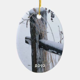 "Frozen Wheat Stalks on Fence-""Lean on Me"" Christmas Ornament"