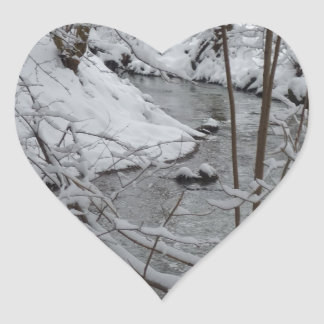 Frozen Winter River Heart Sticker