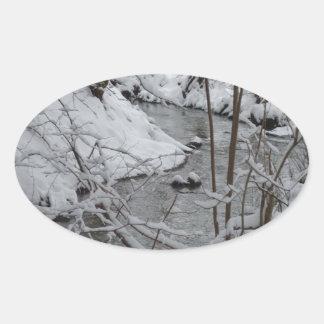 Frozen Winter River Oval Sticker