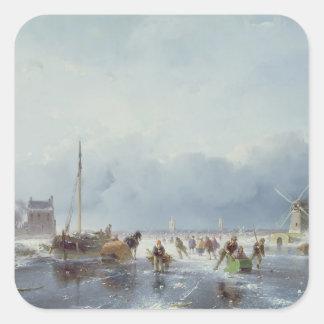 Frozen winter scene square sticker
