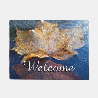 Frozen Yellow Maple Leaf Autumn Nature Doormat