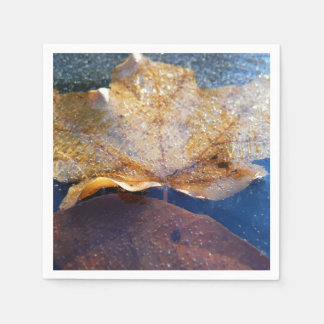 Frozen Yellow Maple Leaf Autumn Nature Paper Napkin
