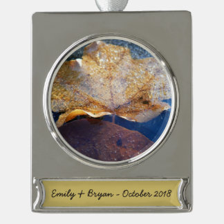 Frozen Yellow Maple Leaf Autumn Nature Silver Plated Banner Ornament