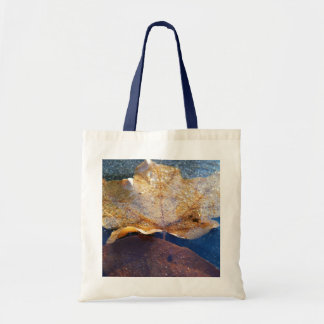 Frozen Yellow Maple Leaf Autumn Nature Tote Bag