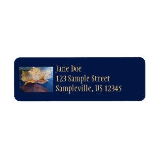 Frozen Yellow Maple Leaf Return Address Label