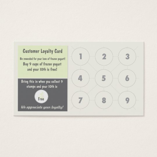 Frozen Yogurt Loyalty Business Card