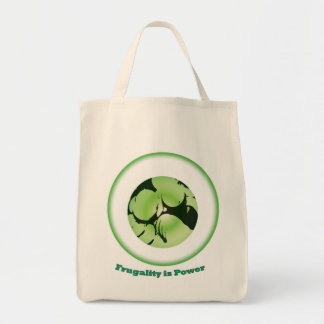 Frugality is Power grocery tote bag