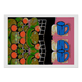 Fruit and Blue Mugs, Matisse Style Poster