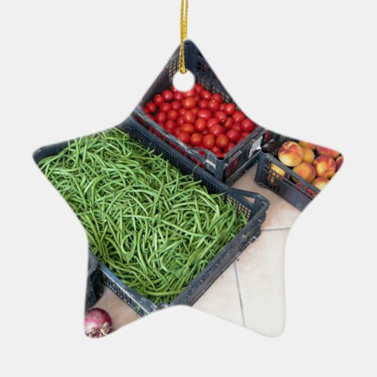 Fruit and vegetable boxes christmas ornament