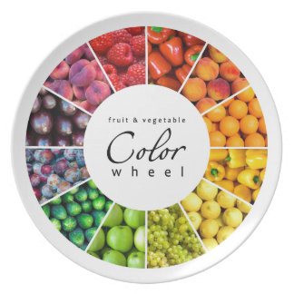 Fruit and vegetable color wheel (12 colors) dinner plates