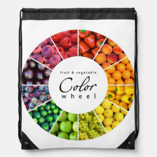 Fruit and vegetable color wheel (12 colors) drawstring bag