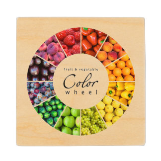 Fruit and vegetable color wheel (12 colors) wood coaster