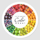 Fruit and vegetable colour wheel (12 colours) classic round sticker