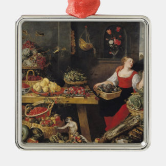 Fruit and Vegetable Market Silver-Colored Square Decoration