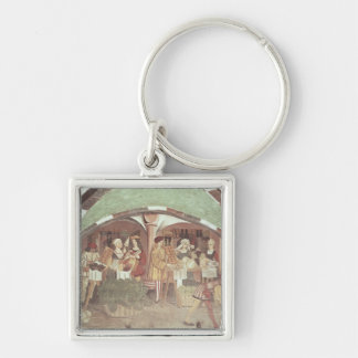 Fruit and Vegetable Market Silver-Colored Square Key Ring