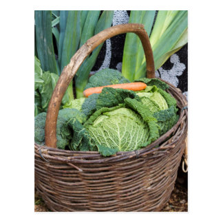 fruit and vegetables in the basket postcard
