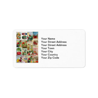 Fruit and Veggies Seed Catalog Collage Address Label