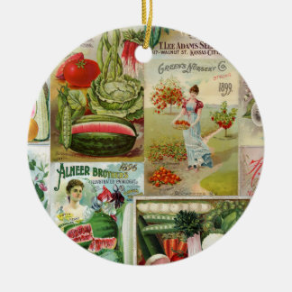 Fruit and Veggies Seed Catalog Collage Christmas Ornament