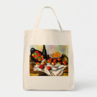 fruit and wine on table tote bag