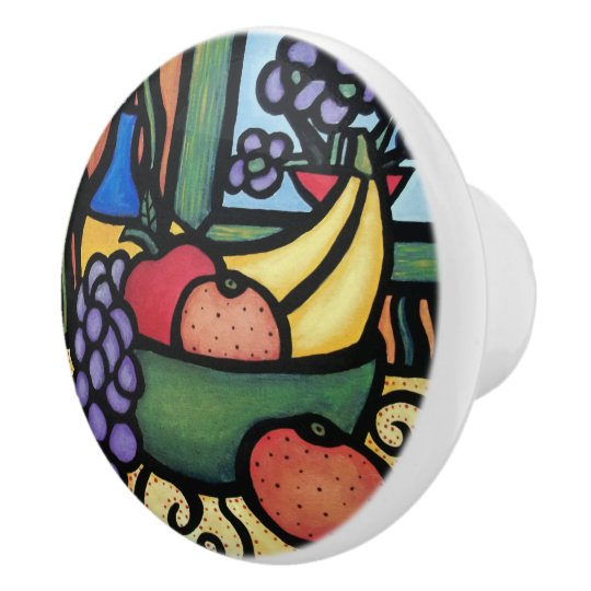 Fruit Bowl Bright Colours Ceramic Knob
