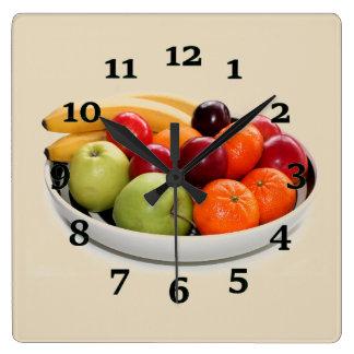 Fruit Bowl Square Wall Clock