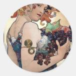 Fruit by Alfons Mucha 1897 Round Sticker